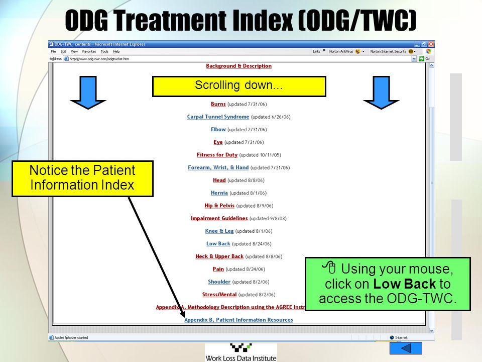 ODG Treatment Index (ODG/TWC)