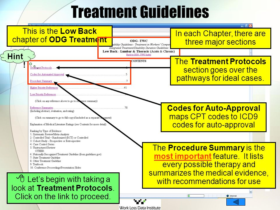Treatment Guidelines This is the Low Back chapter of ODG Treatment. In each Chapter, there are three major sections.