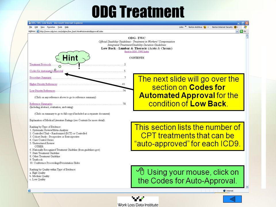  Using your mouse, click on the Codes for Auto-Approval.