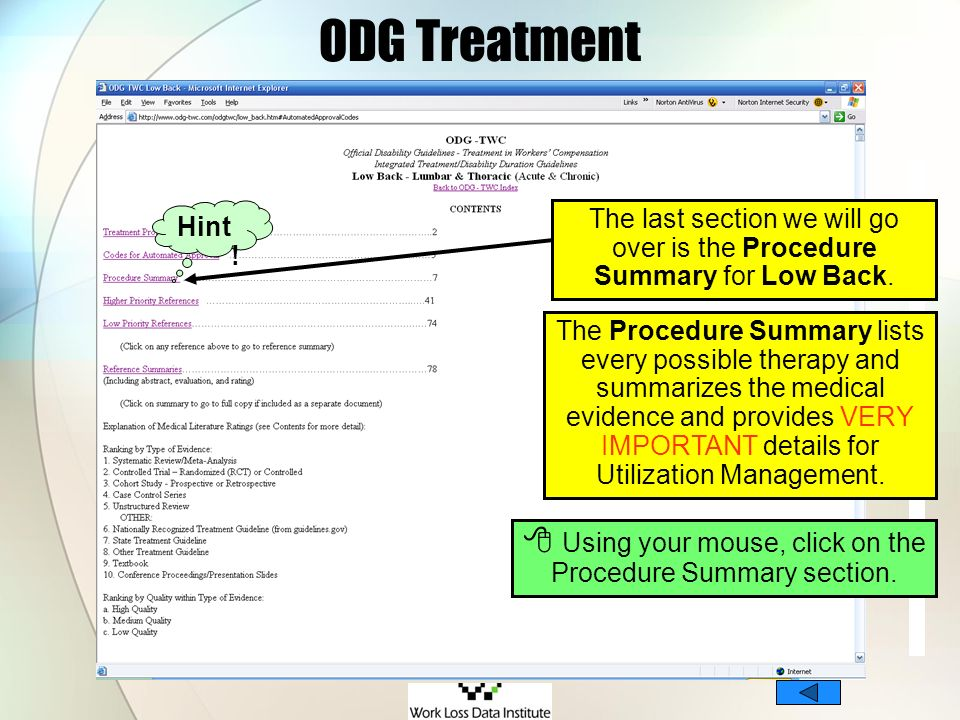  Using your mouse, click on the Procedure Summary section.