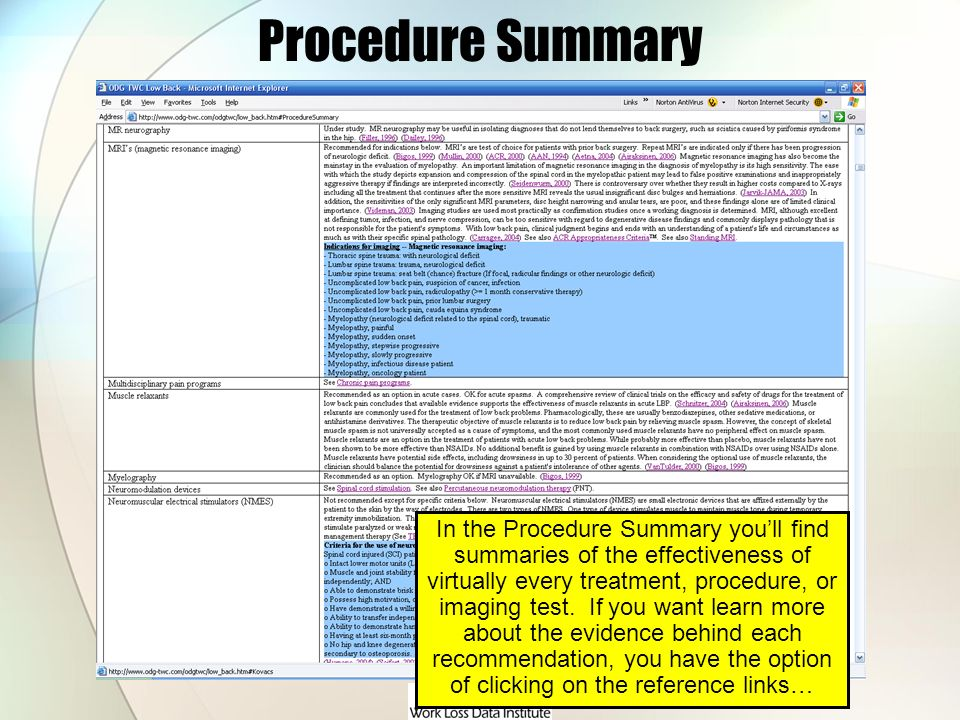 Procedure Summary