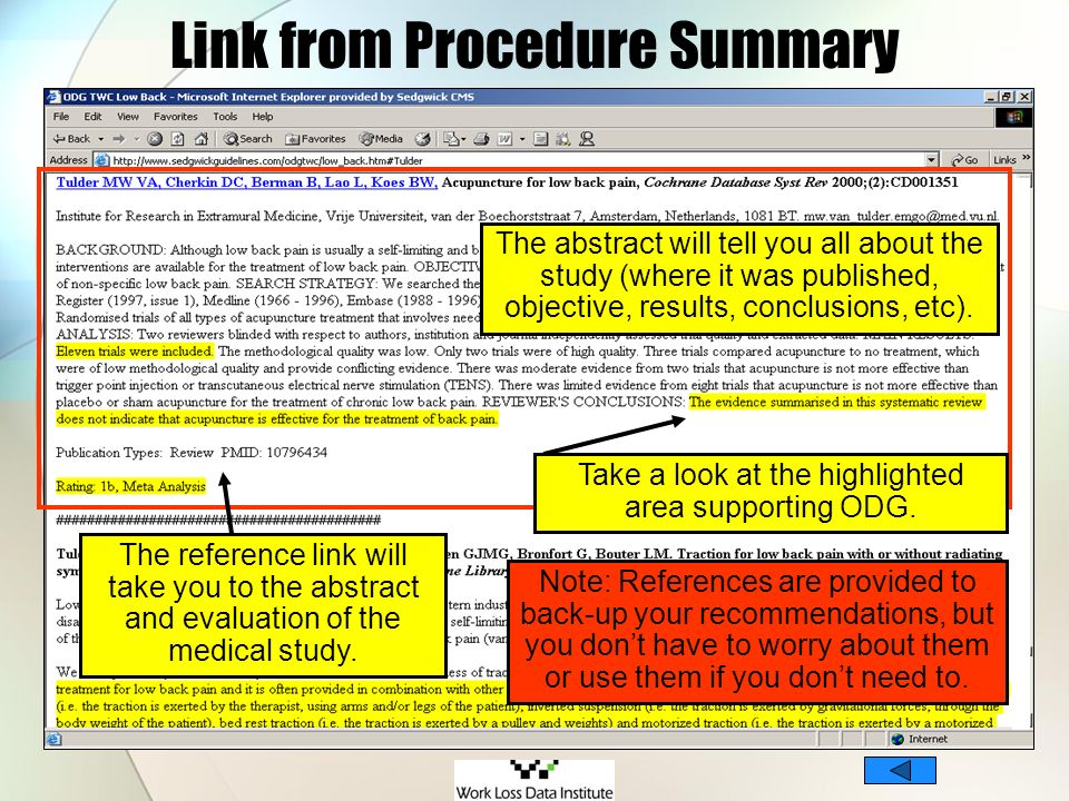 Link from Procedure Summary