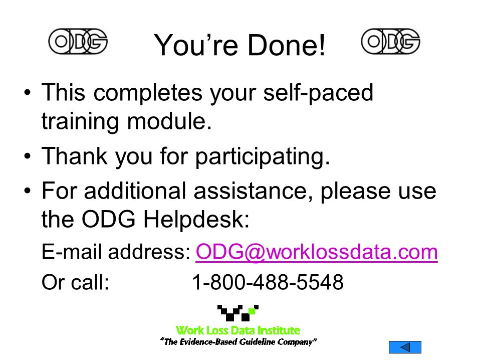 You're Done! This completes your self-paced training module.