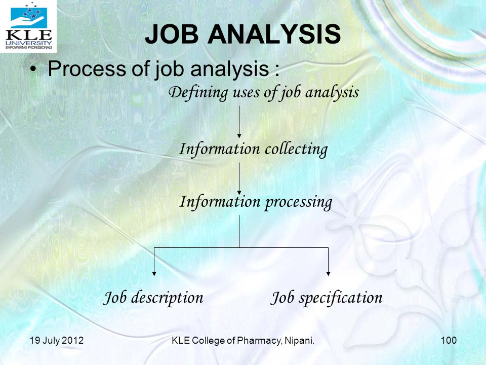 JOB ANALYSIS Process of job analysis : Defining uses of job analysis