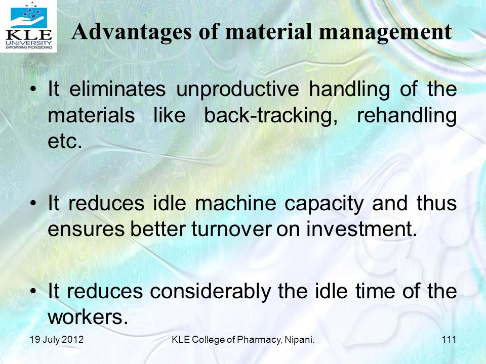 Advantages of material management