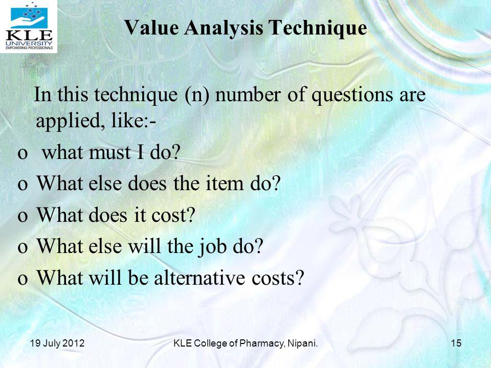 Value Analysis Technique