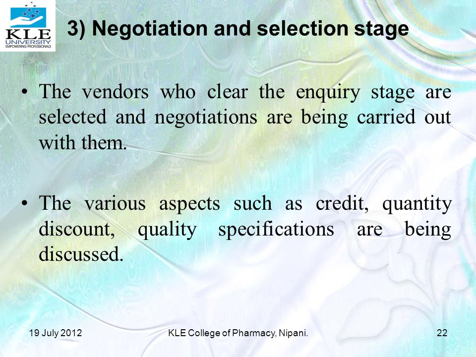 3) Negotiation and selection stage
