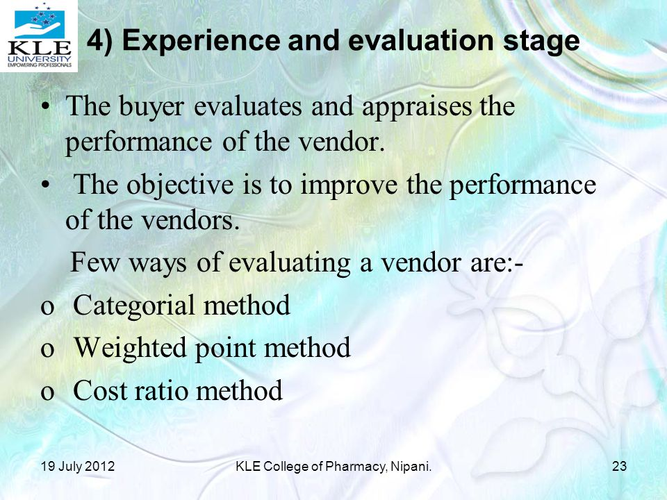 4) Experience and evaluation stage