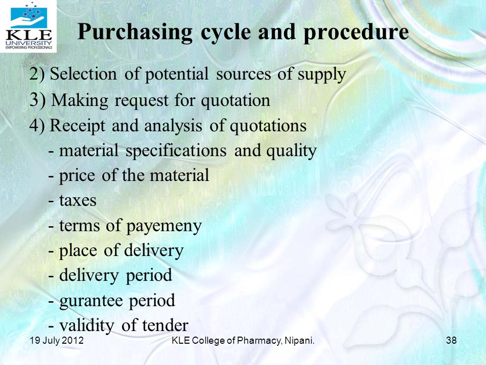 Purchasing cycle and procedure