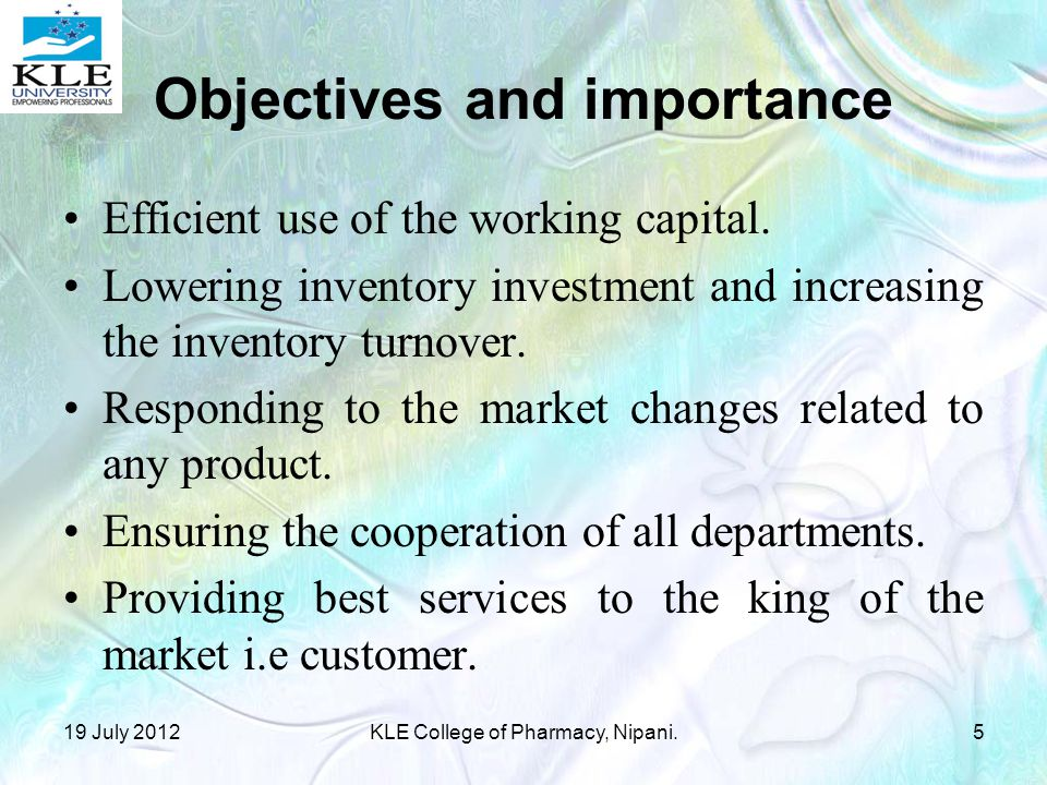 Objectives and importance