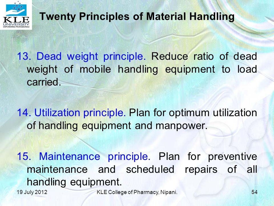 Twenty Principles of Material Handling