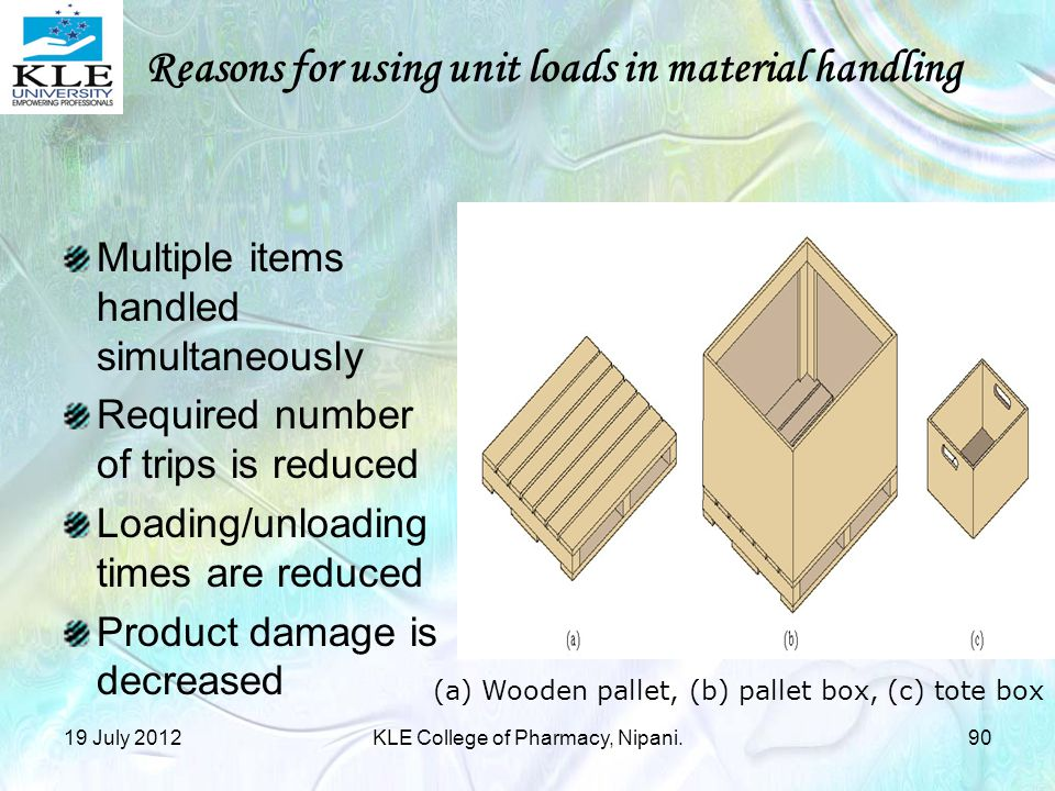 Reasons for using unit loads in material handling
