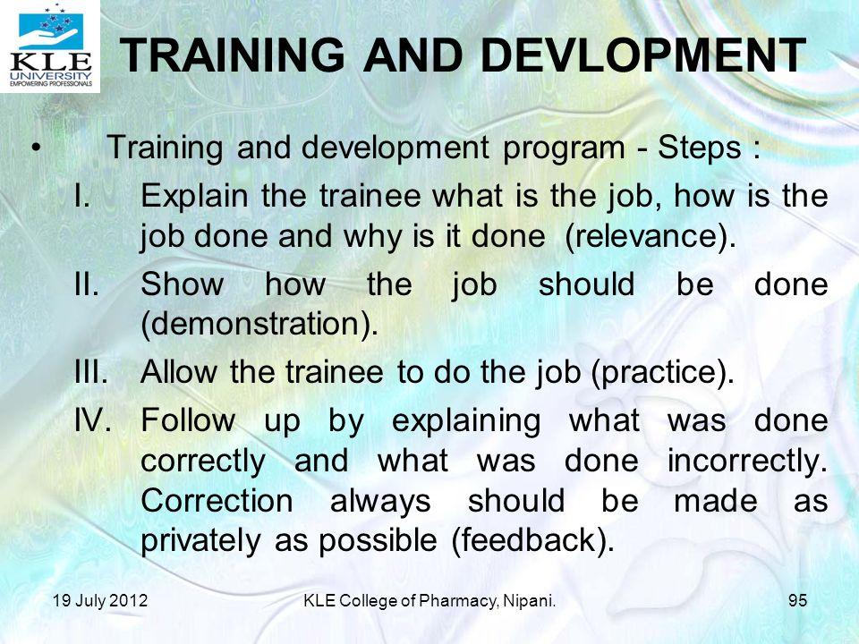 TRAINING AND DEVLOPMENT