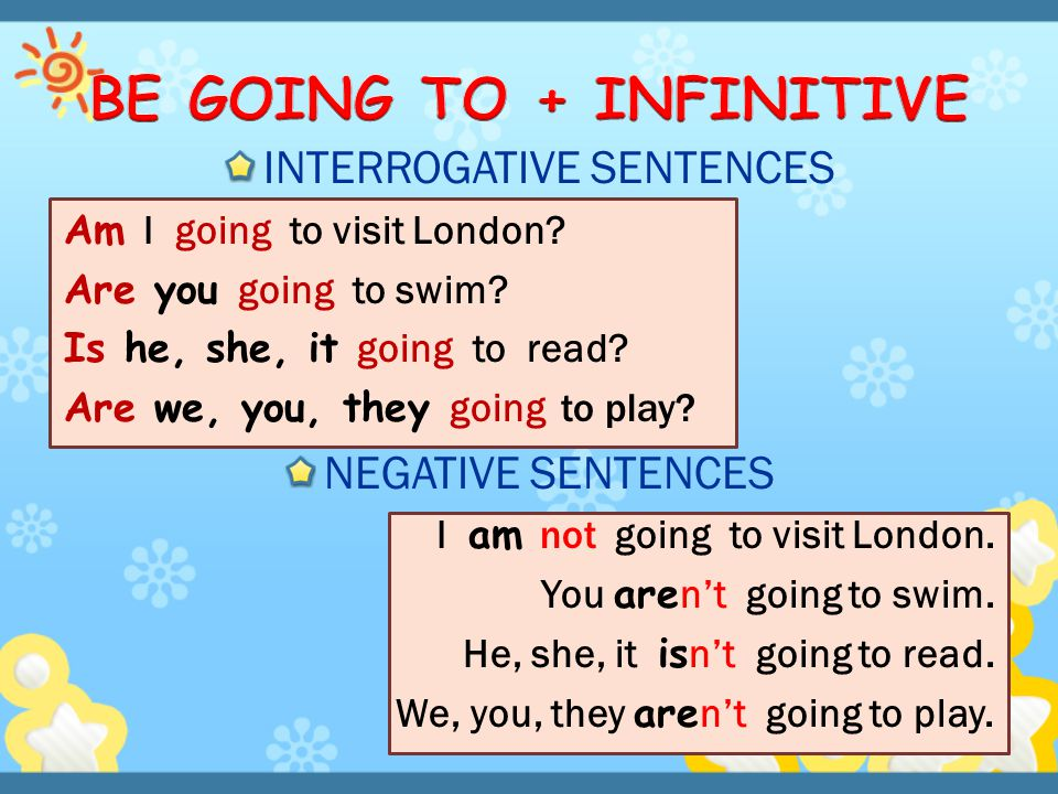 BE GOING TO + INFINITIVE