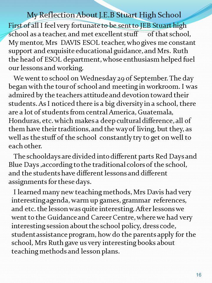 My Reflection About J.E.B Stuart High School