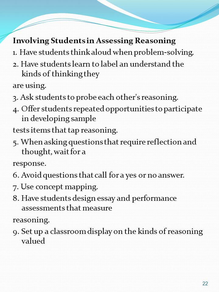 Involving Students in Assessing Reasoning
