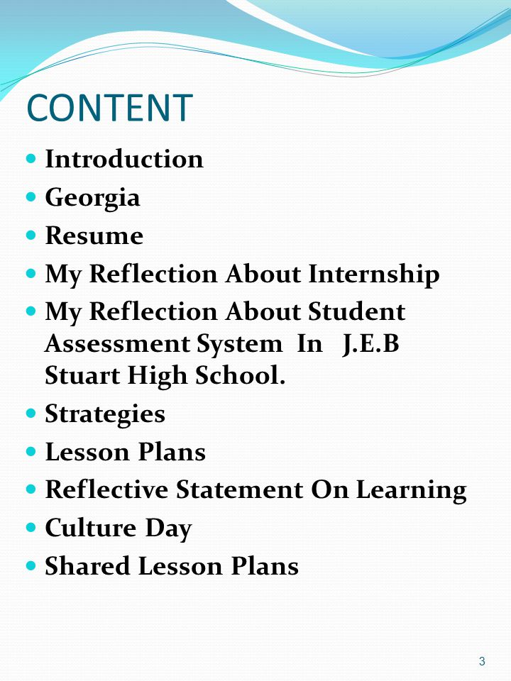 CONTENT Introduction Georgia Resume My Reflection About Internship