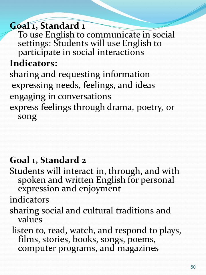 Goal 1, Standard 1 To use English to communicate in social settings: Students will use English to participate in social interactions