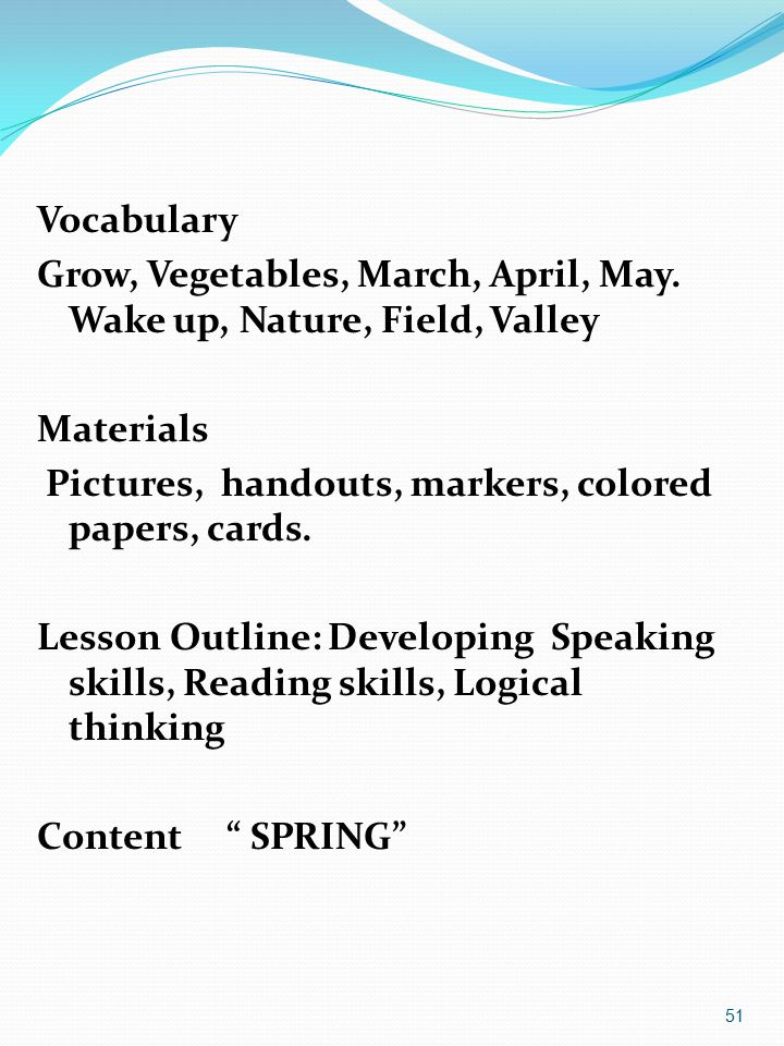Vocabulary Grow, Vegetables, March, April, May