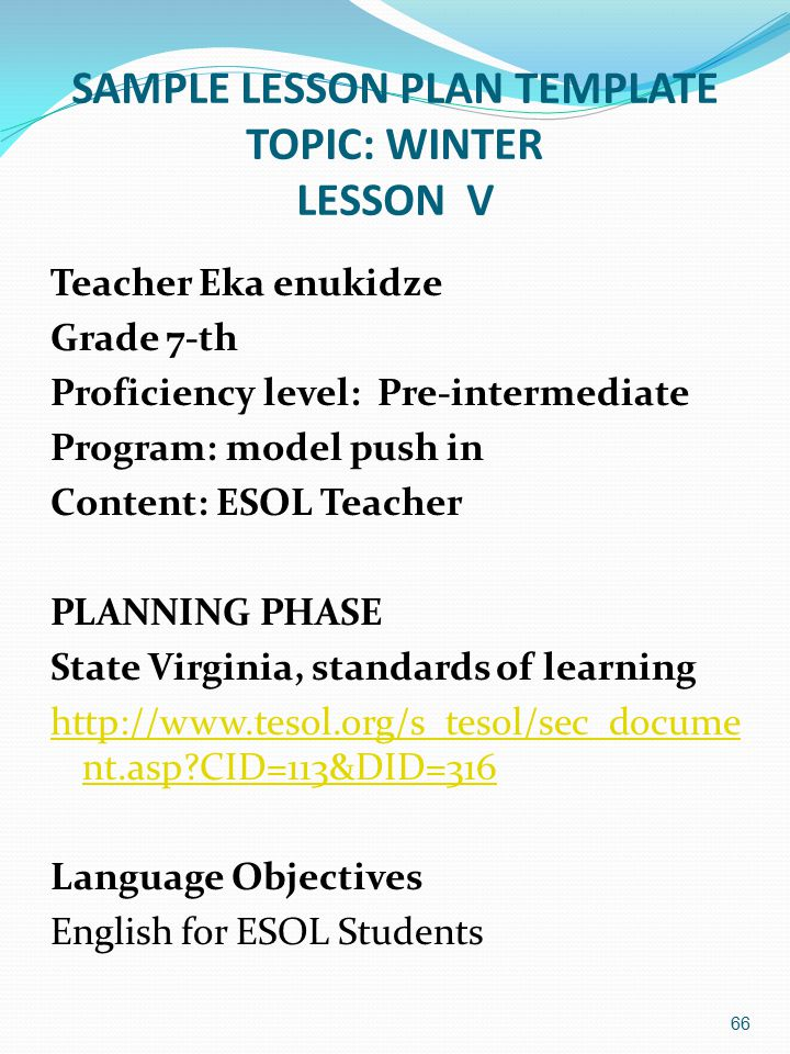 SAMPLE LESSON PLAN TEMPLATE TOPIC: WINTER LESSON V