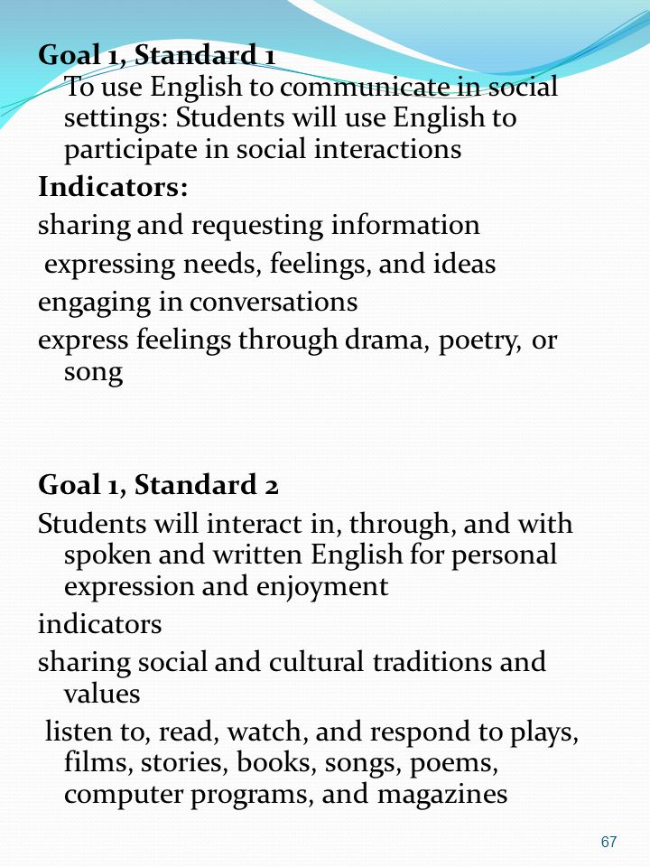 Goal 1, Standard 1 To use English to communicate in social settings: Students will use English to participate in social interactions Indicators: sharing and requesting information expressing needs, feelings, and ideas engaging in conversations express feelings through drama, poetry, or song Goal 1, Standard 2 Students will interact in, through, and with spoken and written English for personal expression and enjoyment indicators sharing social and cultural traditions and values listen to, read, watch, and respond to plays, films, stories, books, songs, poems, computer programs, and magazines