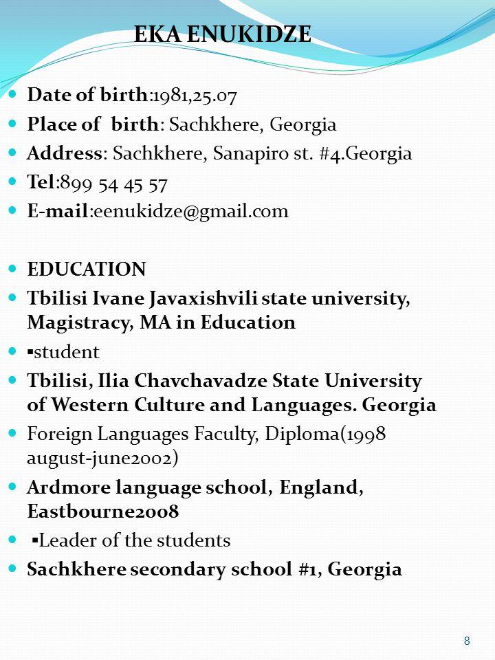 EKA ENUKIDZE Date of birth:1981,25.07