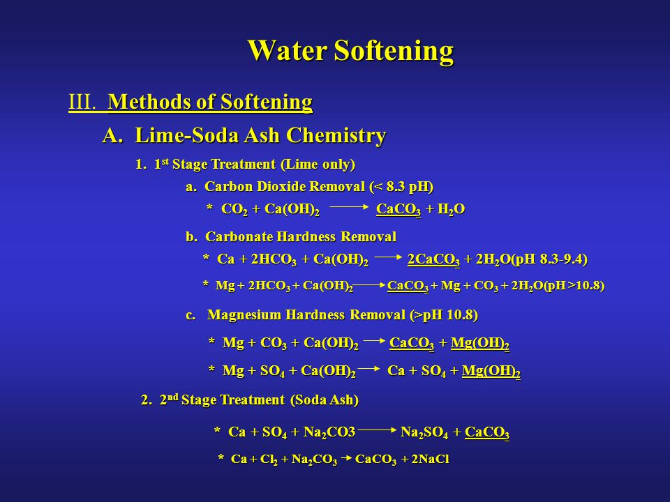 Water Softening III. Methods of Softening A. Lime-Soda Ash Chemistry