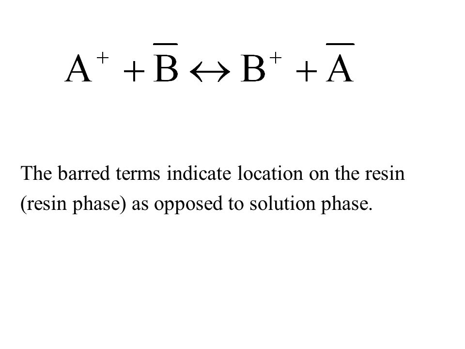 The barred terms indicate location on the resin (resin phase) as opposed to solution phase.