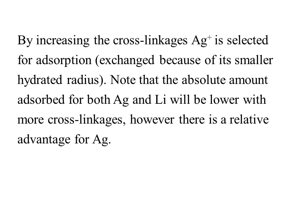 By increasing the cross-linkages Ag+ is selected for adsorption (exchanged because of its smaller hydrated radius).