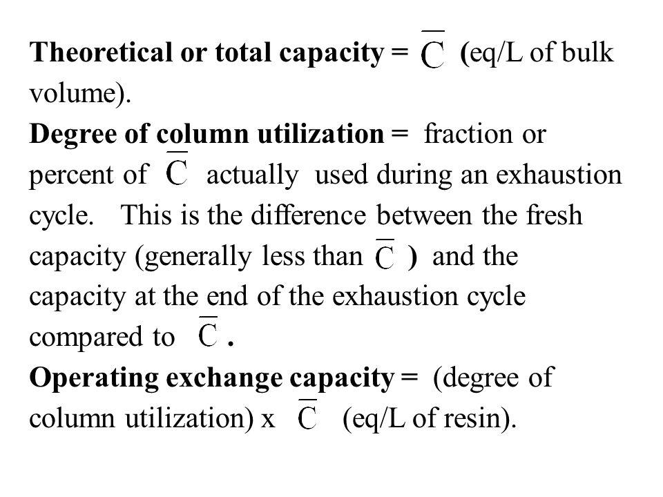 Theoretical or total capacity = (eq/L of bulk volume).