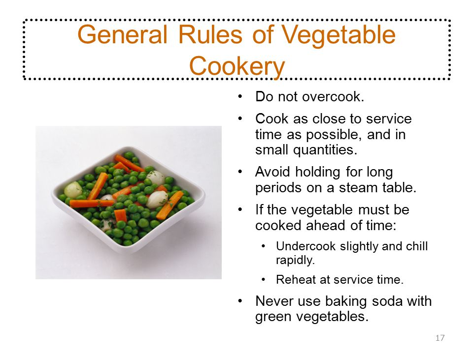 General Rules of Vegetable Cookery