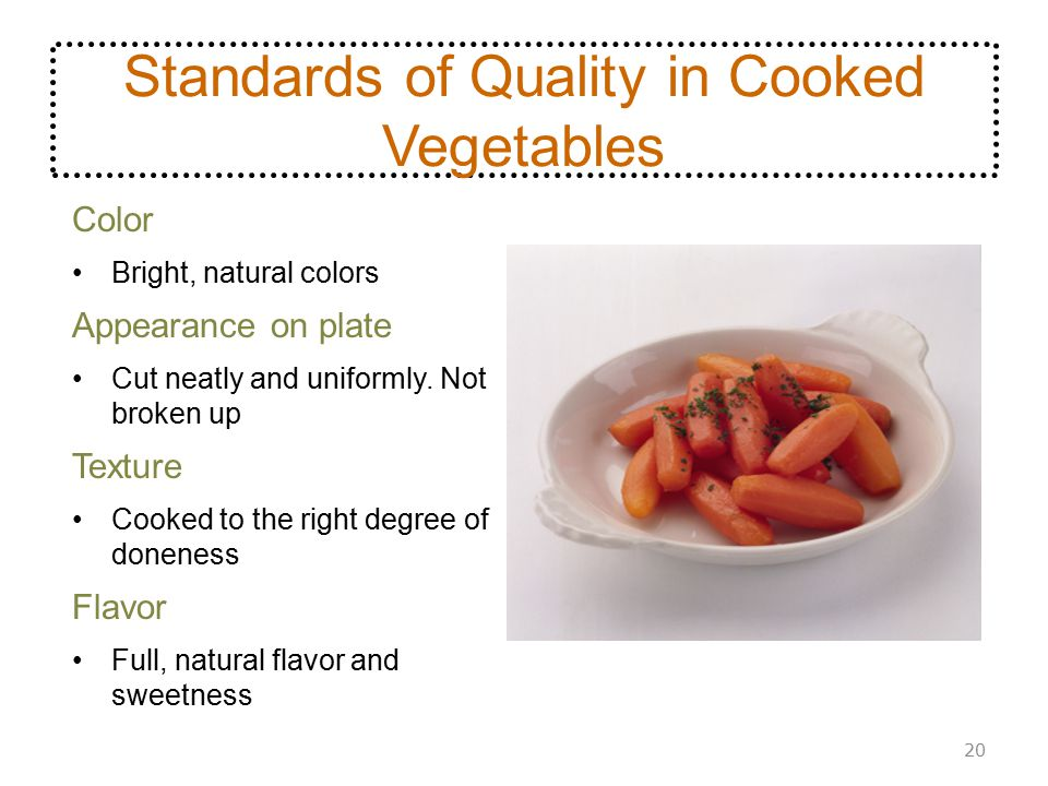 Standards of Quality in Cooked Vegetables