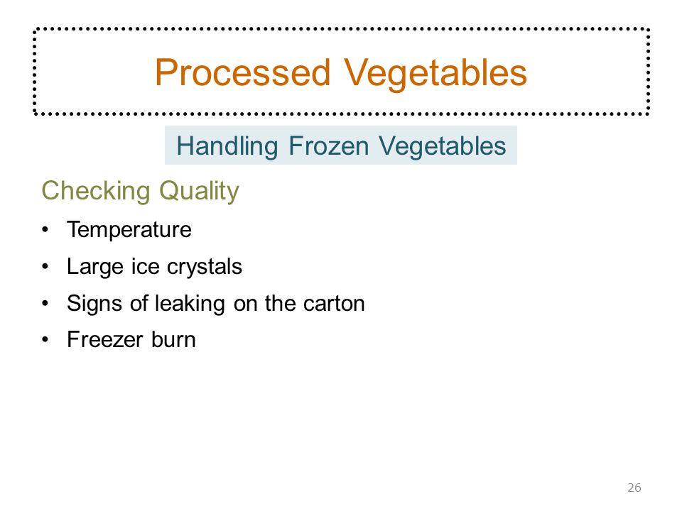 Handling Frozen Vegetables