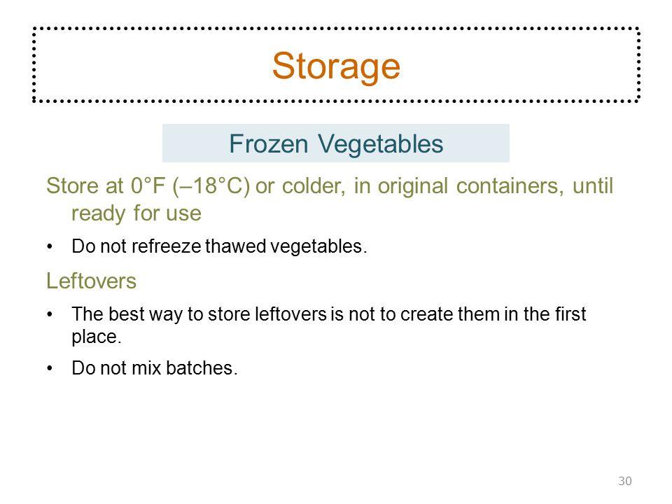 Storage Frozen Vegetables