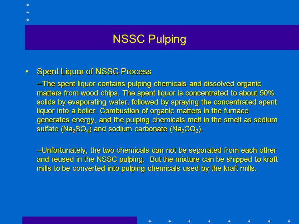 NSSC Pulping Spent Liquor of NSSC Process