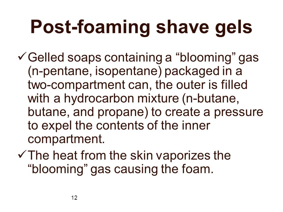 Post-foaming shave gels