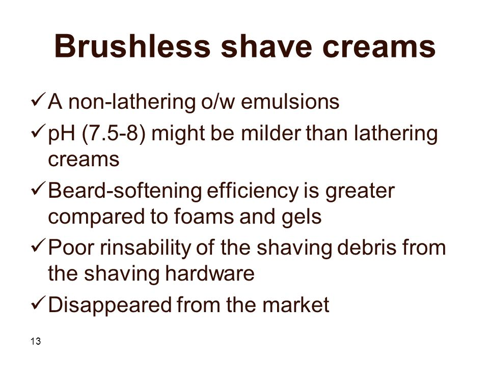 Brushless shave creams