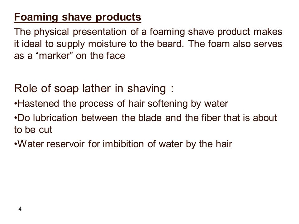 Role of soap lather in shaving :