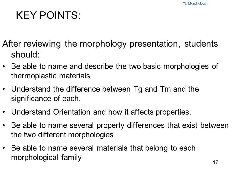 73: Morphology: KEY POINTS: After reviewing the morphology presentation, students should: