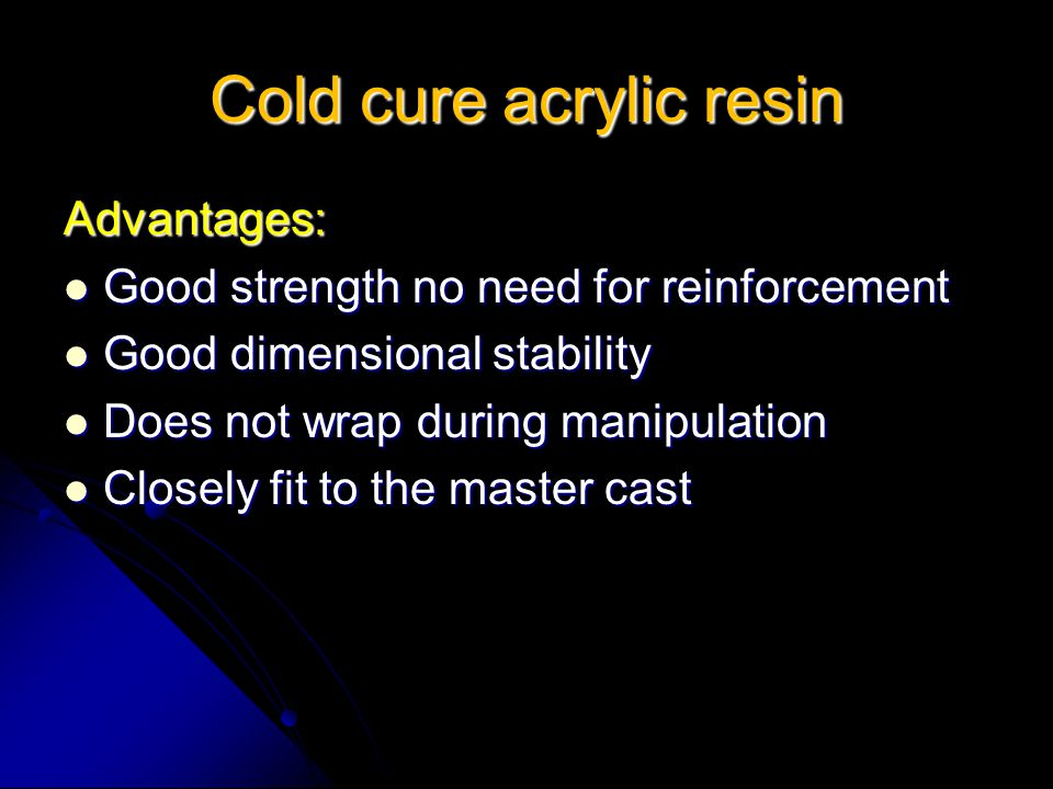 Cold cure acrylic resin