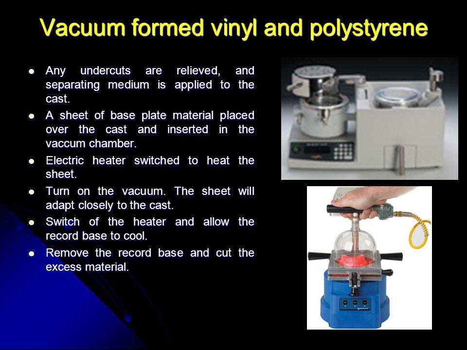 Vacuum formed vinyl and polystyrene