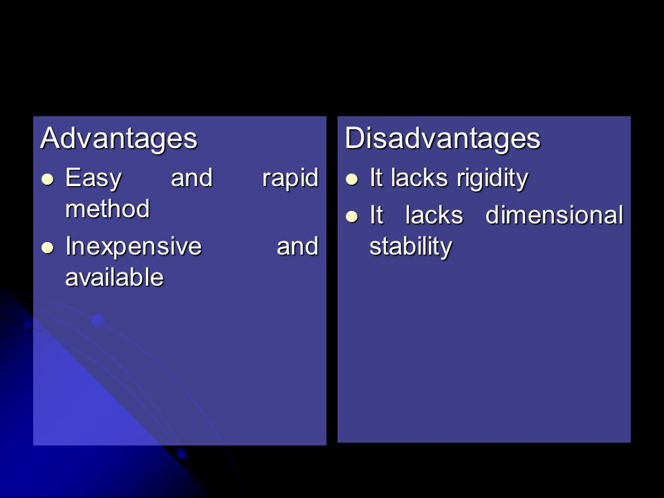 Advantages Disadvantages Easy and rapid method