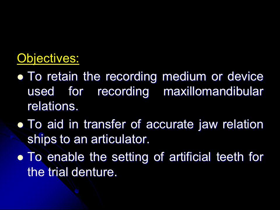 Objectives: To retain the recording medium or device used for recording maxillomandibular relations.