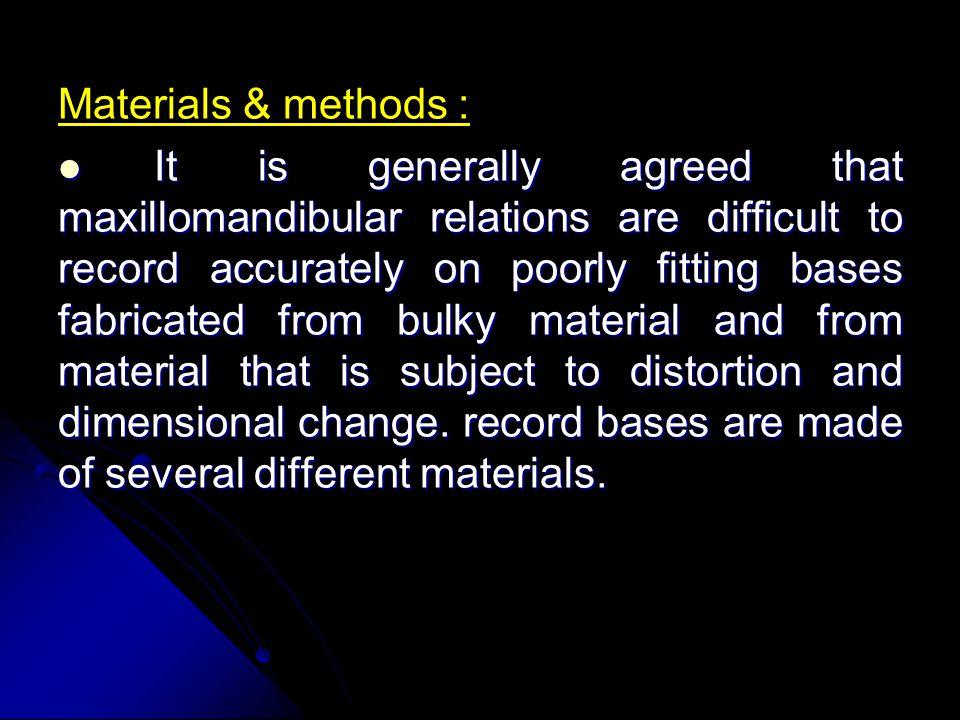 Materials & methods :