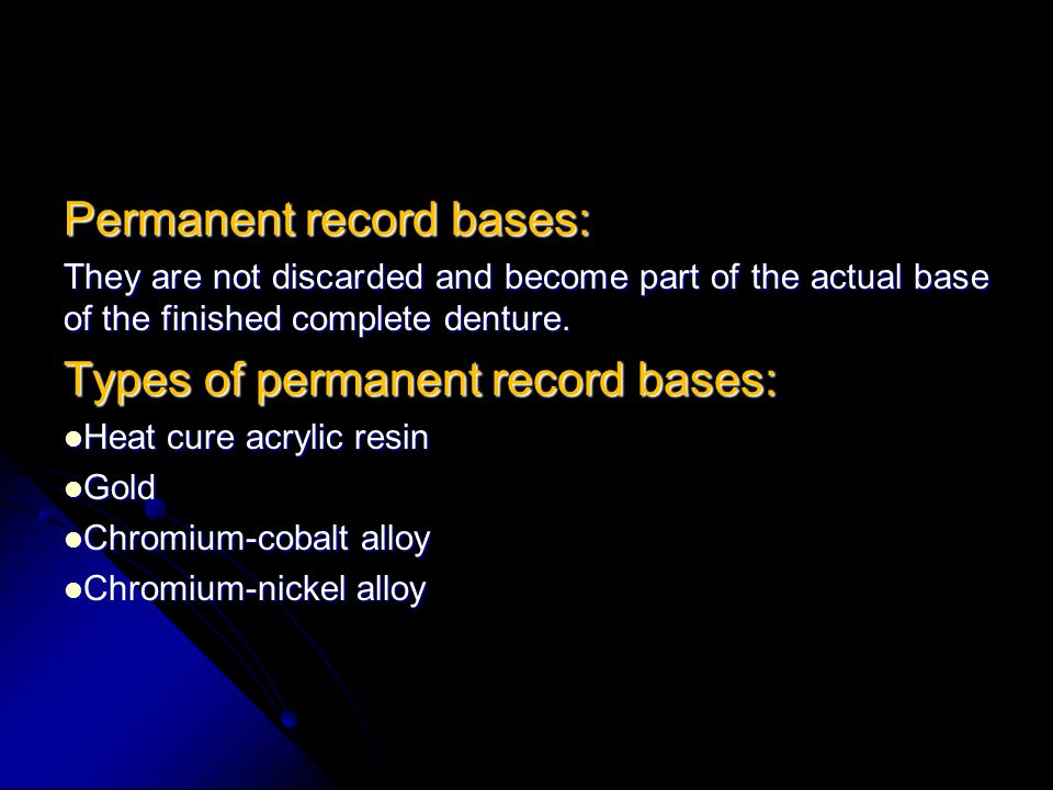 Permanent record bases: