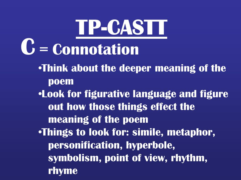 C = Connotation TP-CASTT Think about the deeper meaning of the poem
