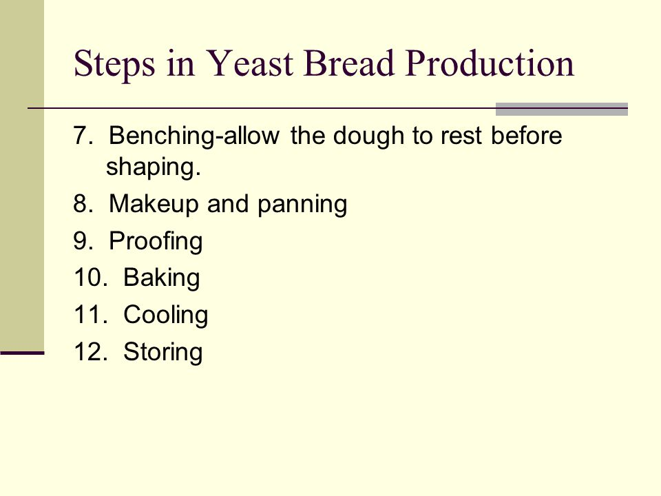 Steps in Yeast Bread Production