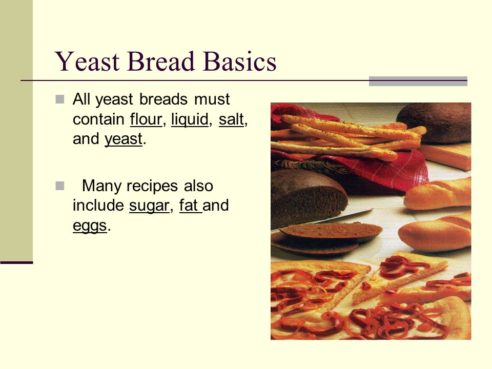 Yeast Bread Basics All yeast breads must contain flour, liquid, salt, and yeast.