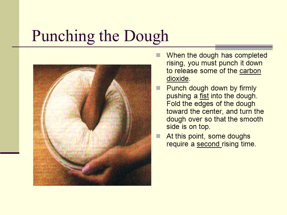 Punching the Dough When the dough has completed rising, you must punch it down to release some of the carbon dioxide.