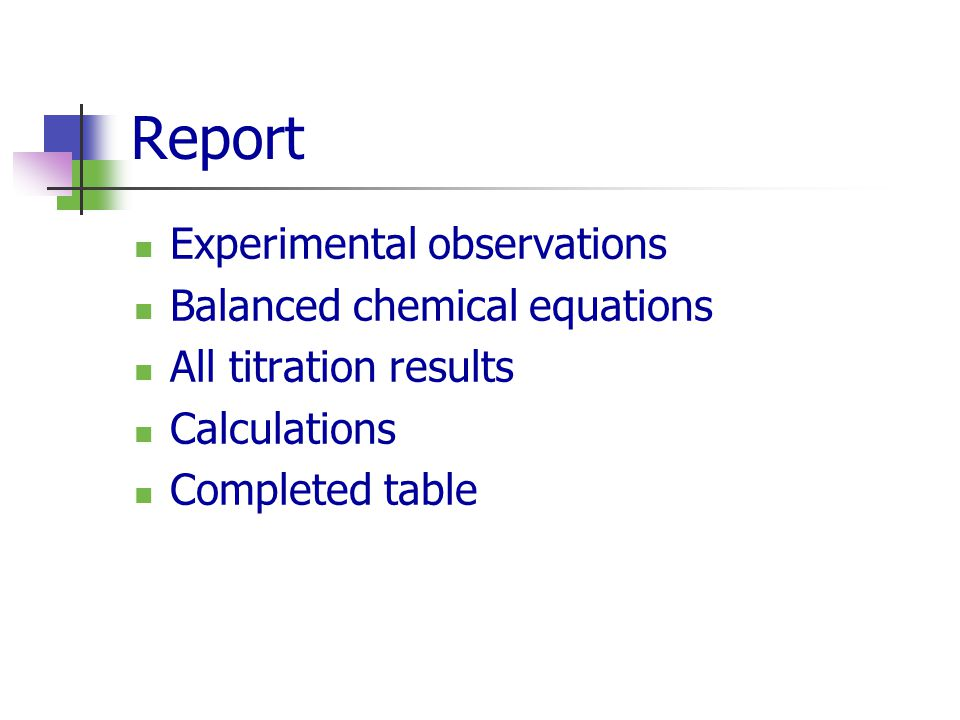 Report Experimental observations Balanced chemical equations